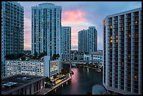 Brickell high-rise towers and Miami River at sunset, Miami. Florida, USA ( color)