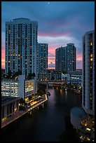 High view of Brickell towers and Miami River at sunset, Miami. Florida, USA ( color)