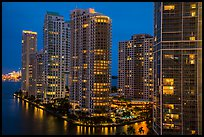 Brickell Key at night, Miami. Florida, USA ( color)