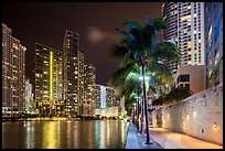 Miami Riverwalk and Miami River at night, Miami. Florida, USA ( color)