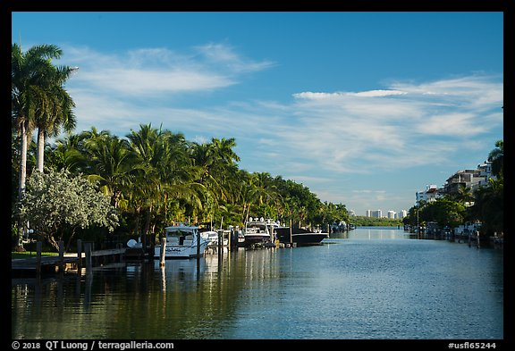 Biscayne Bay arm, North Beach, Miami Beach. Florida, USA (color)