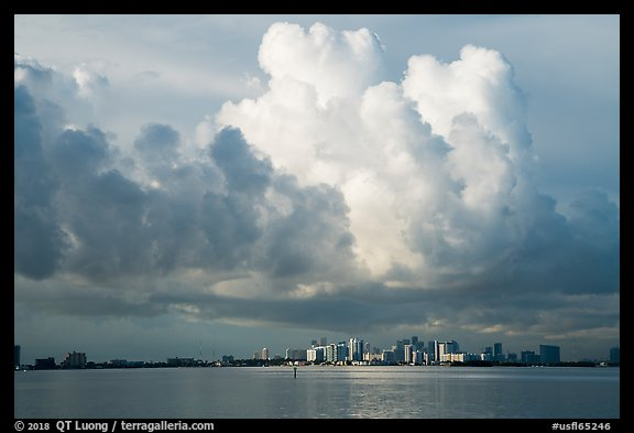 Thunderstorms clouds above skyline and Biscayne Bay. Florida, USA (color)