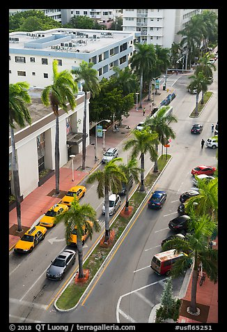 Street and taxis from above, Miami Beach. Florida, USA (color)