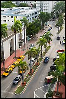 Street and taxis from above, Miami Beach. Florida, USA ( color)