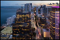 Downtown financial district and Biscayne Bay at sunset from above, Miami. Florida, USA ( color)