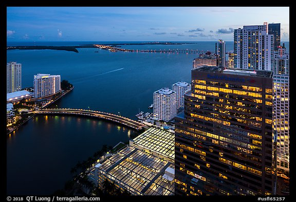 Biscayne Bay, Brickell Key Bridge, and Key Biscayne at dusk, Miami. Florida, USA (color)