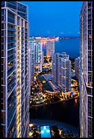 High view of Brickell Point, Brickell Key and Biscayne Bay at night, Miami. Florida, USA ( color)