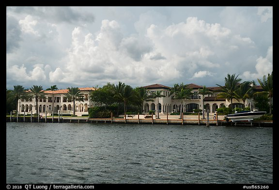 Waterfront mansions. Coral Gables, Florida, USA (color)