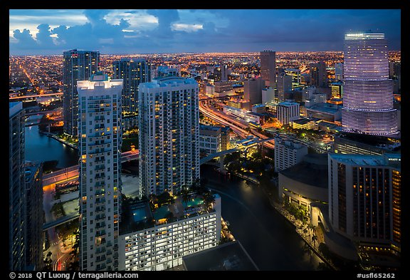 Miami Skyline at dusk with Miami River and Brickell District, Miami. Florida, USA (color)