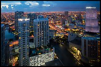 Miami Skyline at dusk with Miami River and Brickell District, Miami. Florida, USA ( color)
