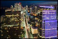 High view of Miami Skyline at night with Brickell Av from Fifty Ultra Lounge, Miami. Florida, USA ( color)