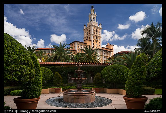 Garden fountain and Biltmore Hotel. Coral Gables, Florida, USA (color)