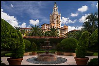 Garden fountain and Biltmore Hotel. Coral Gables, Florida, USA ( color)
