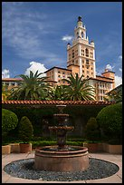 Fountain and Miami Biltmore Hotel. Coral Gables, Florida, USA ( color)