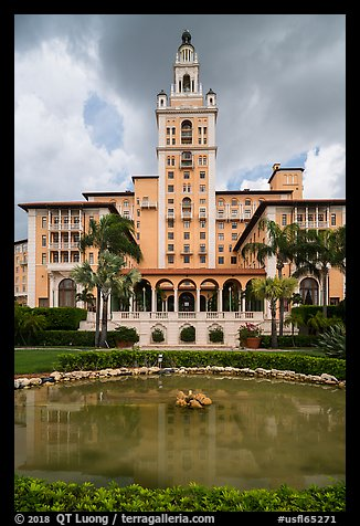 Pond and Miami Biltmore Hotel. Coral Gables, Florida, USA (color)