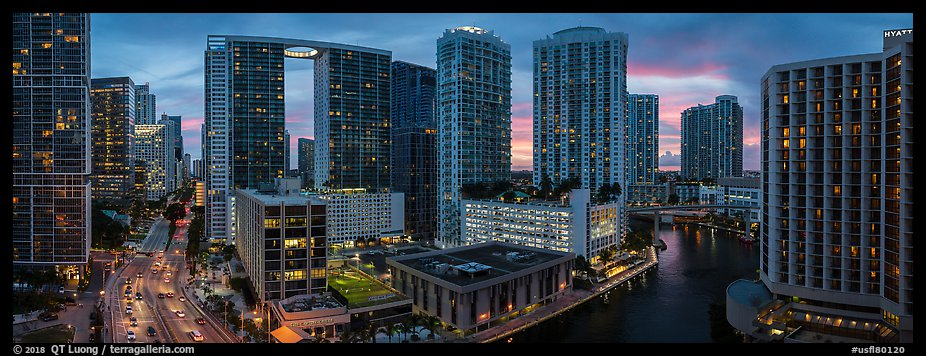 Brickell dowtown skyline at sunset, Miami. Florida, USA (color)