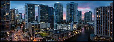Brickell dowtown skyline at sunset, Miami. Florida, USA (Panoramic color)