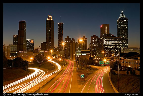 picture photo atlanta skyline and highway at night atlanta georgia usa. Black Bedroom Furniture Sets. Home Design Ideas