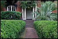House entrance with garden, historical district. Savannah, Georgia, USA