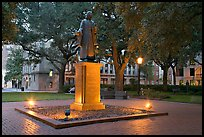 Square with statue of John Wesley at dusk. Savannah, Georgia, USA