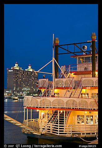 Riverboat at dusk. Savannah, Georgia, USA (color)