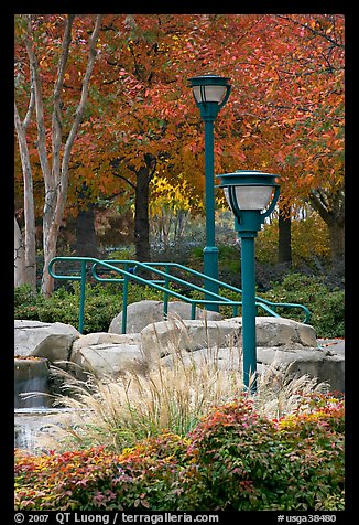 Lamp posts and foliage in autum colors, Centenial Olympic Park. Atlanta, Georgia, USA (color)