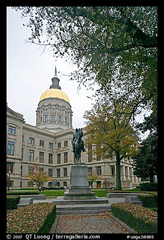 Statue and Georgia Capitol in fall. Atlanta, Georgia, USA (color)