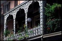 Wrought-iron laced balconies, French Quarter. New Orleans, Louisiana, USA (color)
