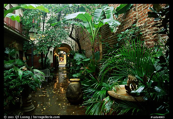 An inside courtyard in the French Quarter. New Orleans, Louisiana, USA (color)