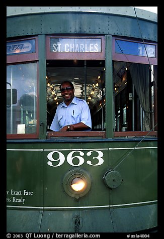 Saint-Charles tramway, Garden District. New Orleans, Louisiana, USA (color)
