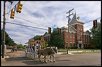 Horse carriage at street intersection. Vicksburg, Mississippi, USA (color)