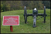 Confederate position marker and cannon, Vicksburg National Military Park. Vicksburg, Mississippi, USA (color)
