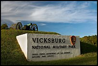 Entrance sign and cannon, Vicksburg National Military Park. Vicksburg, Mississippi, USA ( color)