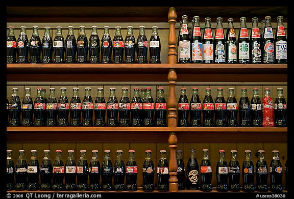 Collectino of Coca Cola bottles. Vicksburg, Mississippi, USA (color)