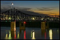 Bridge over the Mississippi river at dusk. Vicksburg, Mississippi, USA (color)