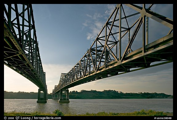 Bridges spanning the Mississippi River. Natchez, Mississippi, USA (color)