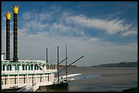 Riverboat and Mississippi River. Natchez, Mississippi, USA ( color)