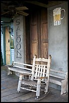 Rocking chair on saloon porch, Natchez under-the-hill. Natchez, Mississippi, USA ( color)