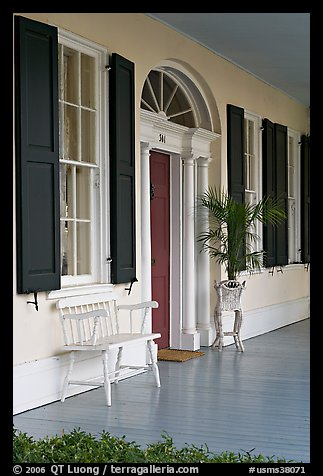 Porch of Griffith-McComas house. Natchez, Mississippi, USA (color)