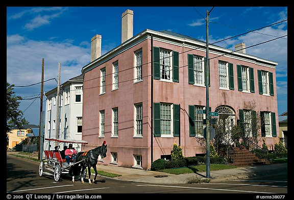Horse carriage in the historic district. Natchez, Mississippi, USA (color)