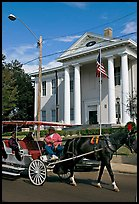 Horse carriage and courthouse. Natchez, Mississippi, USA (color)