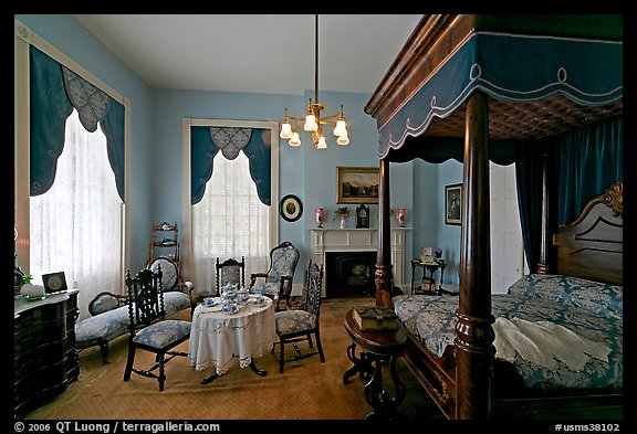 Bedroom inside Rosalie. Natchez, Mississippi, USA (color)
