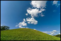 Mound and clouds. Natchez Trace Parkway, Mississippi, USA (color)