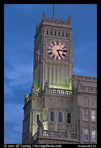 Art Deco clock tower at dusk. Jackson, Mississippi, USA (color)