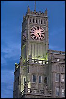 Art Deco clock tower at dusk. Jackson, Mississippi, USA ( color)