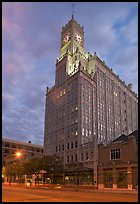 Art Deco building with clock tower at dusk. Jackson, Mississippi, USA ( color)