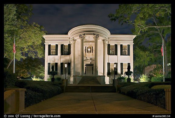 Mississippi Governor's mansion at night. Jackson, Mississippi, USA (color)