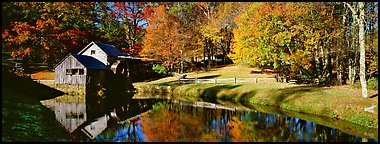 Mill and pond in autumn. Virginia, USA (Panoramic color)