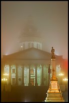 Monument and state capitol in fog at night. Columbia, South Carolina, USA ( color)