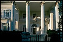 Greek revival facade with weathered  pilars. Charleston, South Carolina, USA (color)